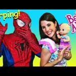 BABY ALIVE Vomit & Barf Doll Review of Bitsy Burpsy Baby & Pee Diaper with Spiderman & DisneyCarToys