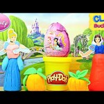 DISNEY PRINCESS Clay Buddies Surprise Toy Egg Play Doh Cinderella Snow White Princesa Huevo Sorpresa
