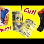 Cutting Money, Cell Phone, and Remote