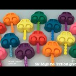 Glitter Play Doh Cars Lollipops with Teddy Halloween Pumpkin Frog Ice Cream Elephant Starfish Molds