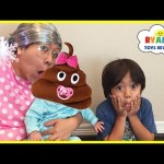 CLUMSY GRANDMA magic wand transform twin babies into Poop Emoji magical spell pretend play funny