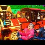 Outdoor playgrounds fun for kids with cars, trains, carousel.  Video from KIDS TOYS CHANNEL