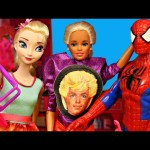 BARBIE GOES  CRAZY Disney Princess & Spiderman Doll Parody with Frozen Elsa at Barbie Fashion Mall