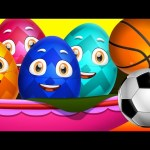 Surprise Eggs Nursery Rhymes Toys | Three Little Kittens – Games | Learn Colours & Sports Equipments