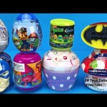 Super Surprise Eggs Kinder Joy Superheroes Captain America vs Batman Cupcake TMNT Learn Colors Fun