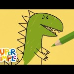 Drawing And Coloring Dinosaurs | + More Art For Kids | Watch & Learn