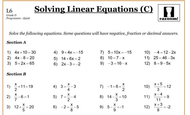 Math Worksheets 1
