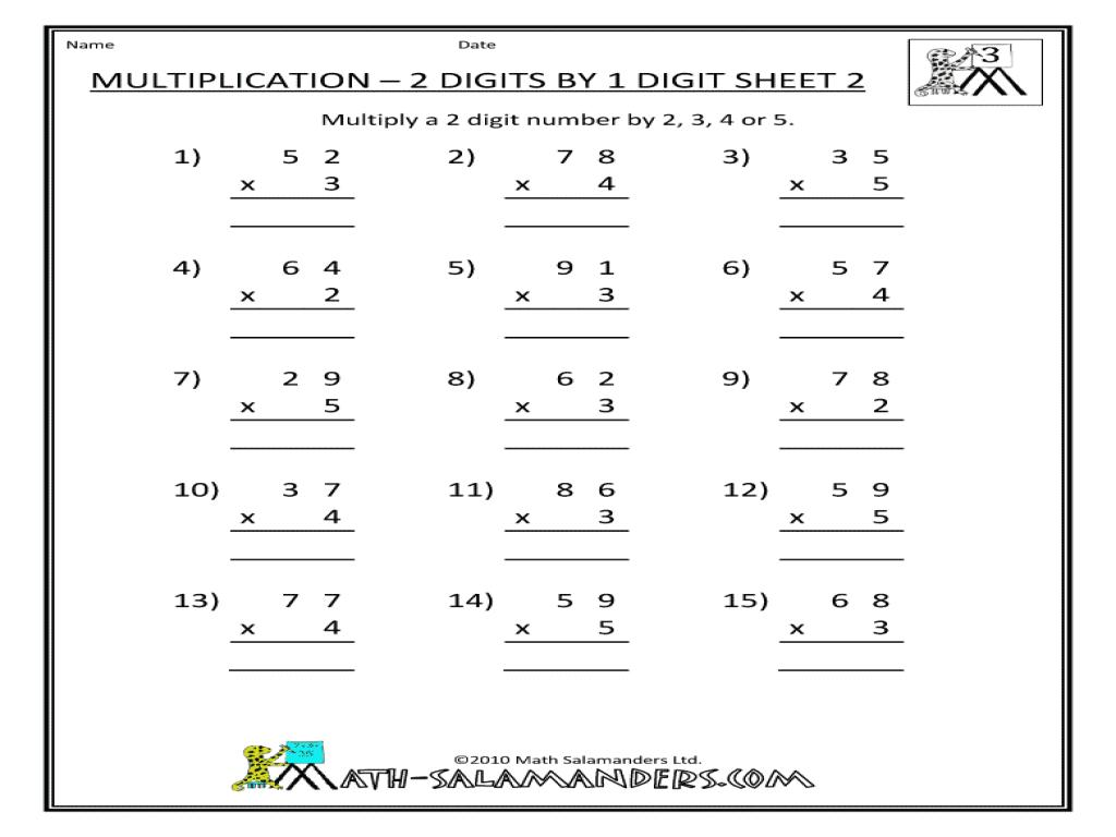 Multiplication Worksheets 2 By 1