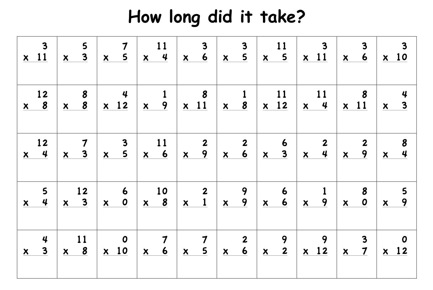 Multiplication Worksheets All Facts 4