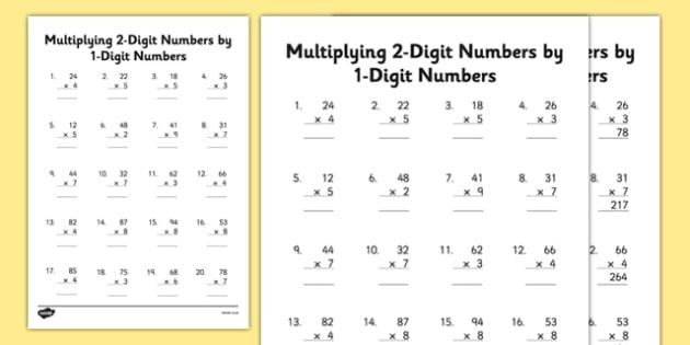 Multiplication Worksheets Multiply By 2
