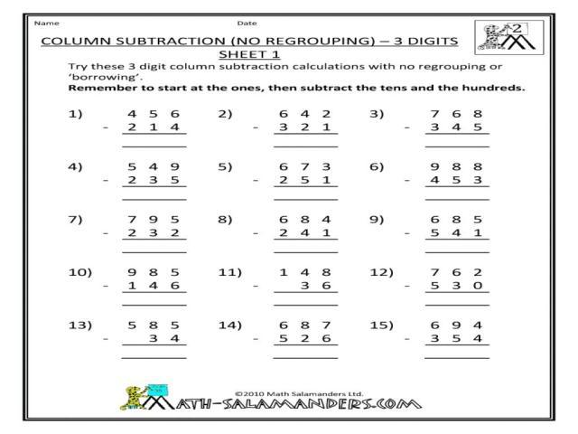 Subtraction Worksheets For Grade 2