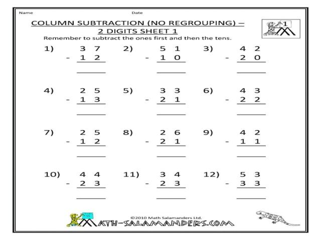 Subtraction Worksheets With Pictures