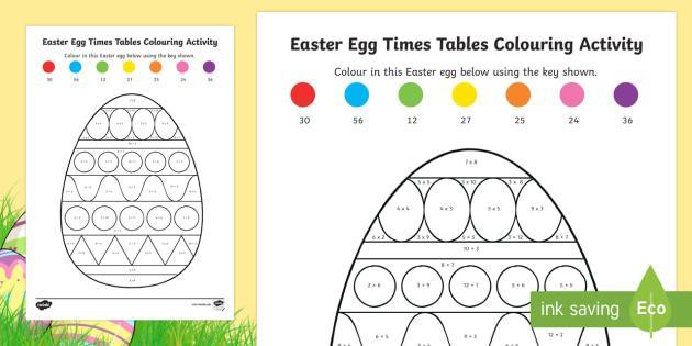 Easter Multiplication Color Worksheets