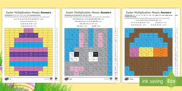 Free Easter Multiplication Color Worksheets