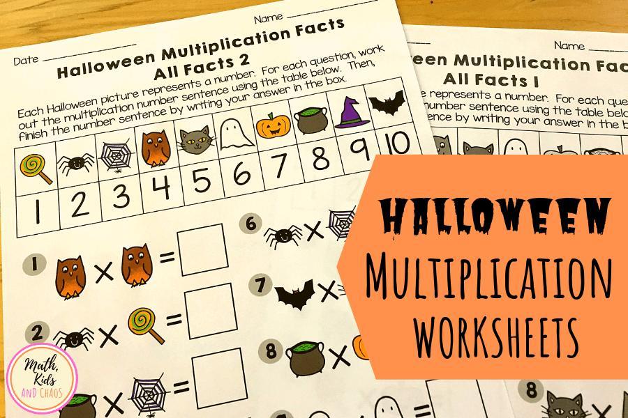 Multiplication Coloring Worksheets Halloween