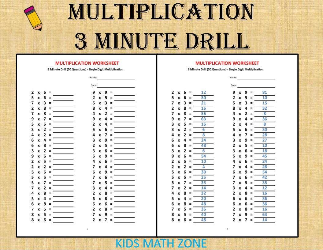 Multiplication Drills Worksheets 4th Grade