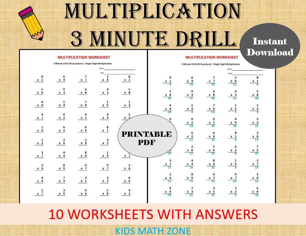 Multiplication Drills Worksheets Pdf