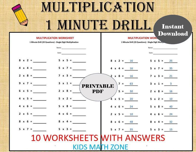 Multiplication Worksheets Minute Drills