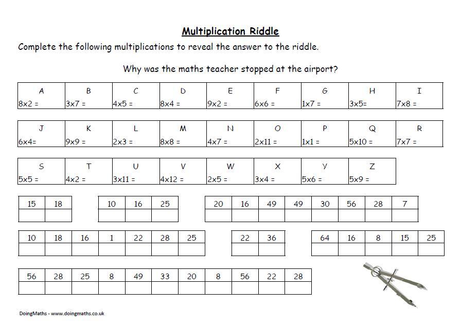 Multiplication Riddle Worksheets Pdf
