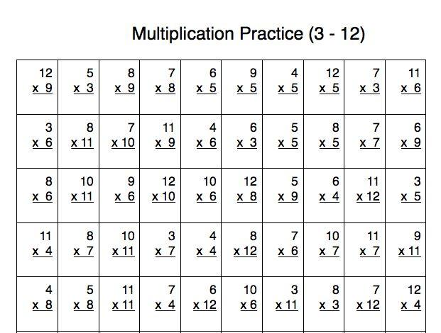 Multiplication Worksheets 100 Questions 7