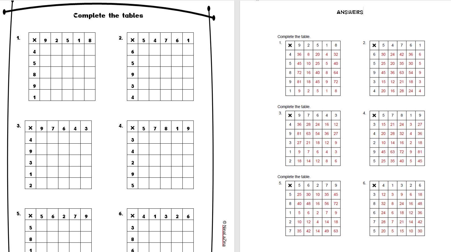 Multiplication Worksheets Printable Grade 8
