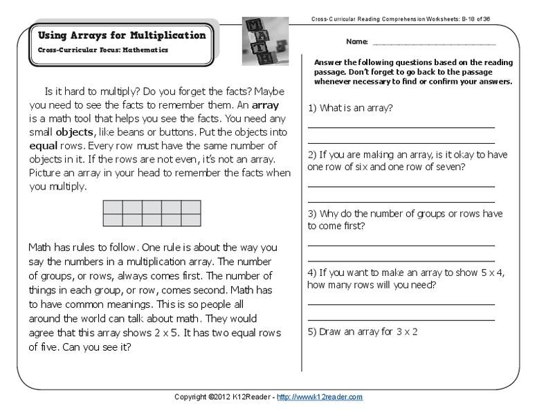 Using Arrays To Solve Multiplication Problems Worksheets