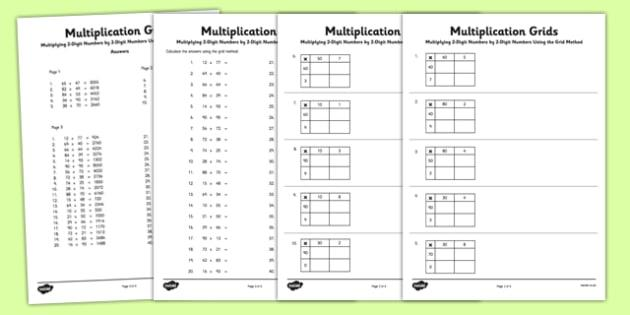 3 Digit By 2 Digit Multiplication Worksheets With Grids