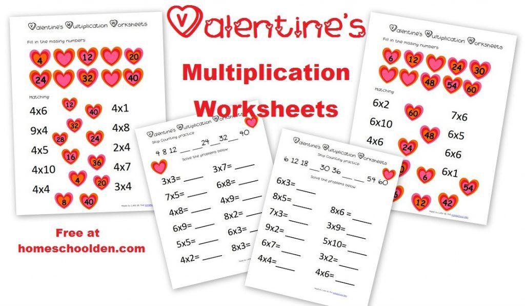 Multiplication Valentine Worksheets 1