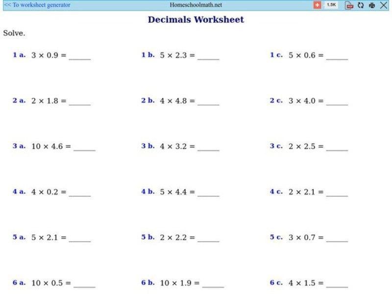 Multiplication With Decimals Worksheets Pdf