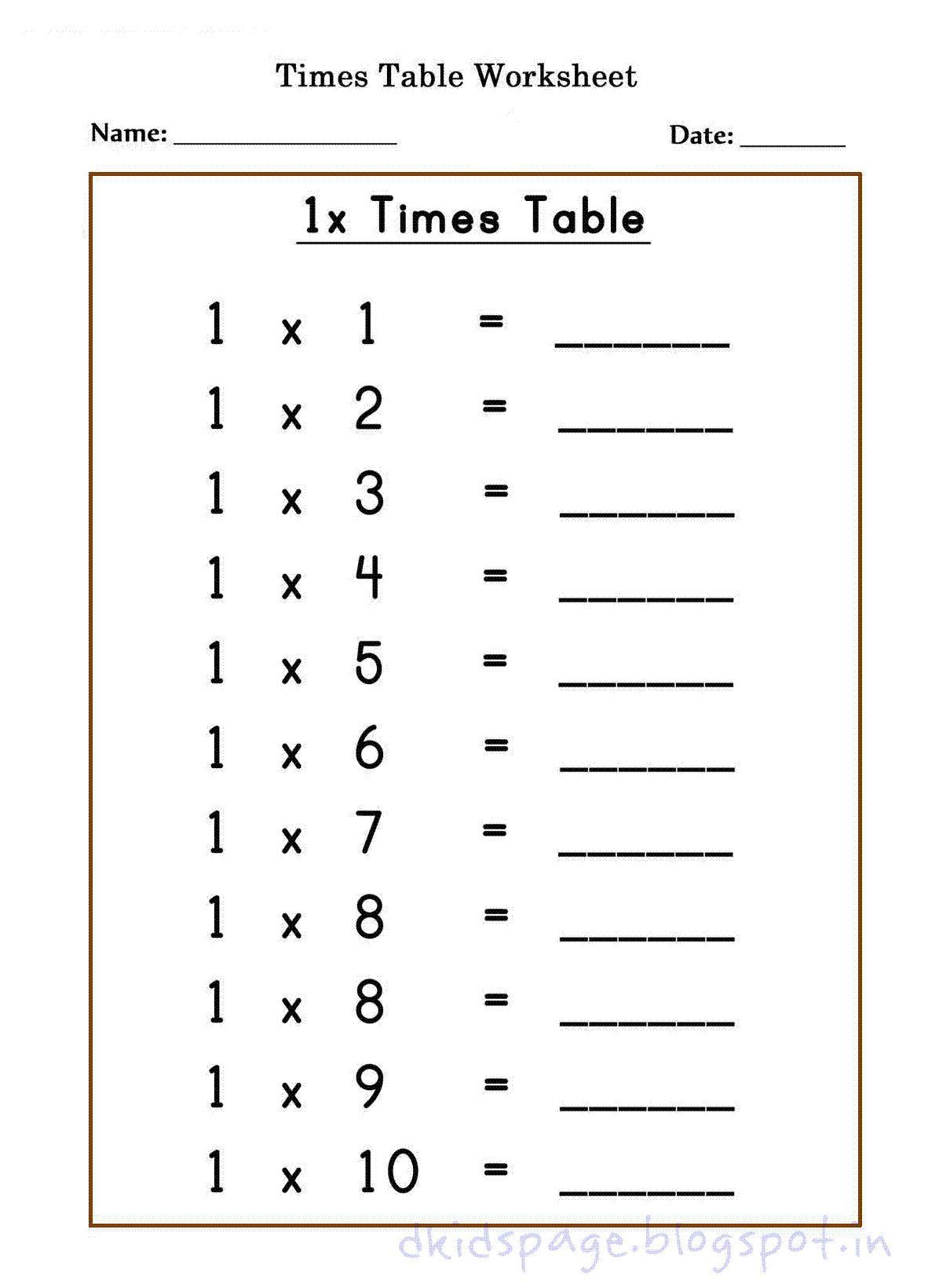 Multiplication Worksheets X 10
