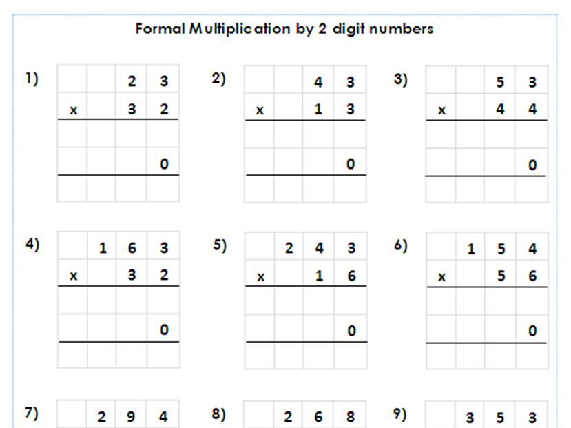 Multiplication Worksheets Year 5 1