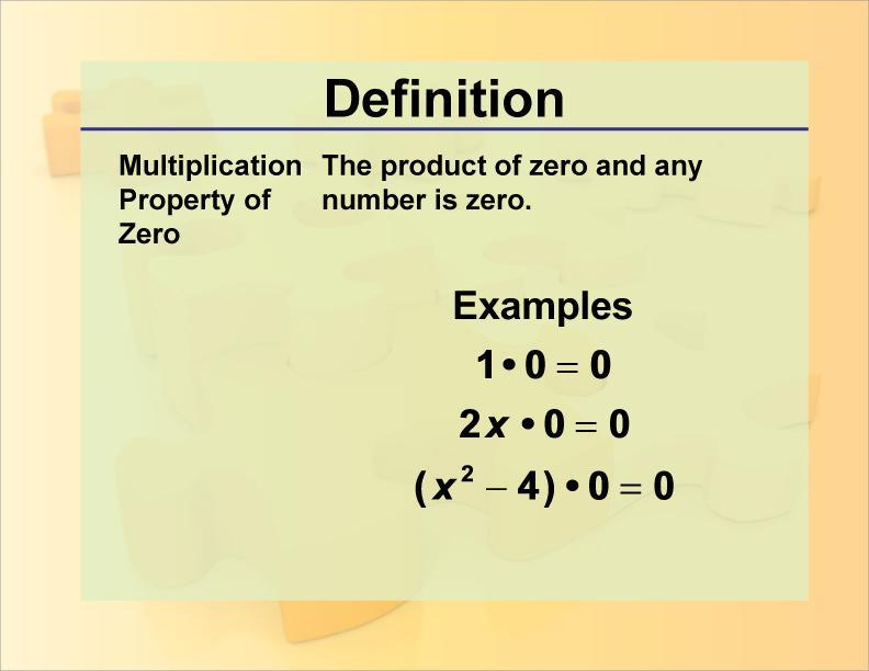 Zero Property Of Multiplication Worksheet