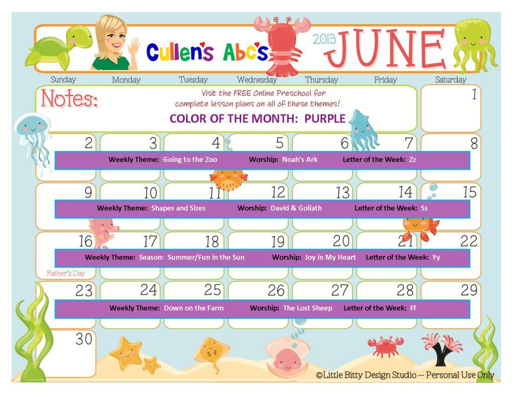 June Preschool Worksheets 5