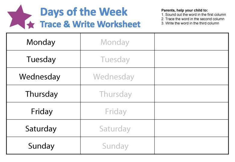 Preschool Days Of The Week Worksheets For Kindergarten