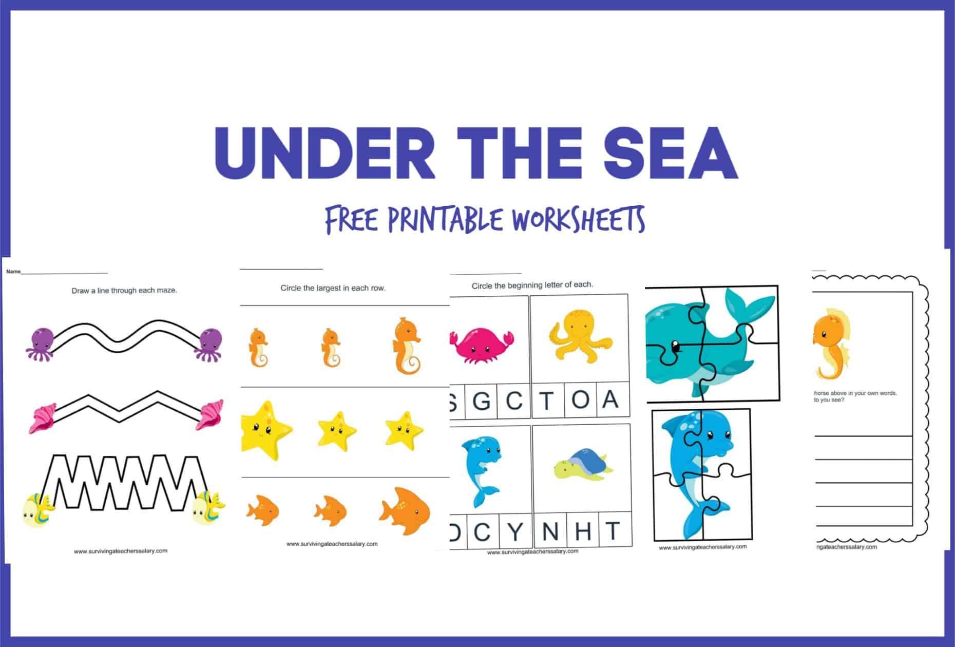 Preschool Worksheets Ocean Theme 1