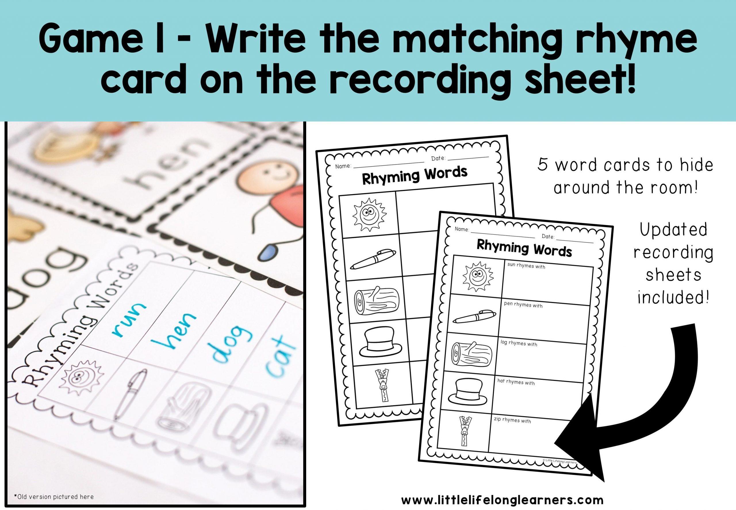 Preschool Worksheets Rhyming Words 2