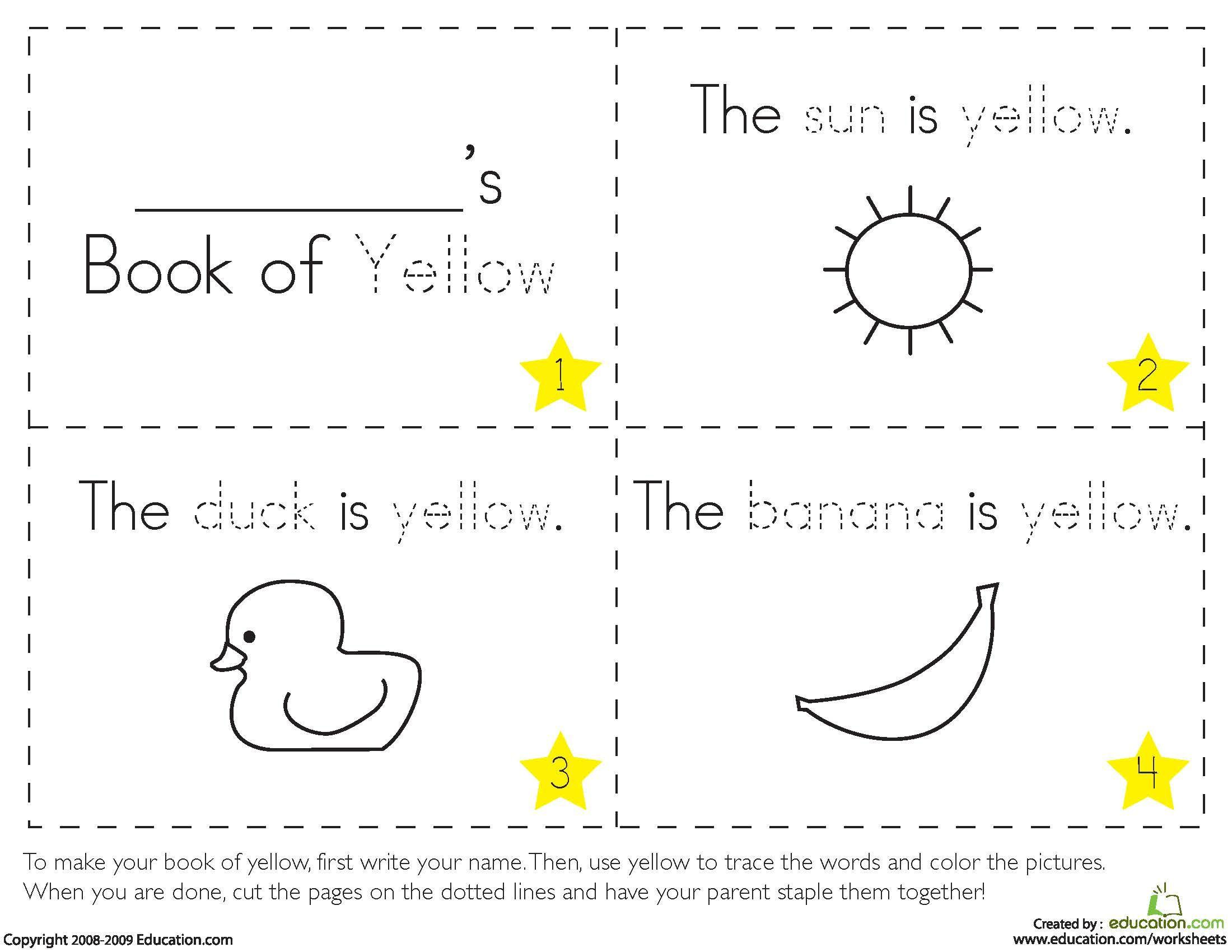 Color Yellow Worksheets For Preschool