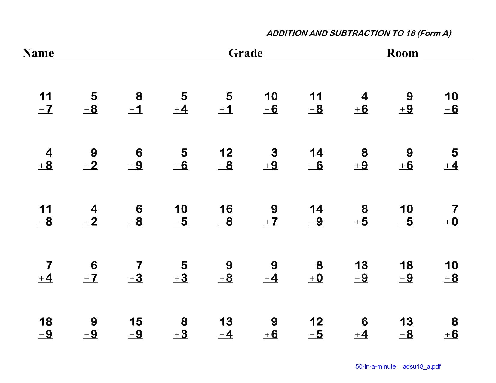 Math Worksheets Addition And Subtraction 5