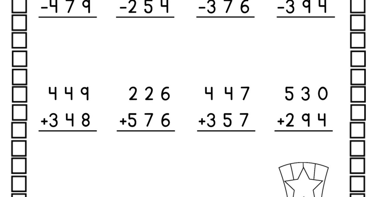 Math Worksheets Addition And Subtraction Grade 3 7