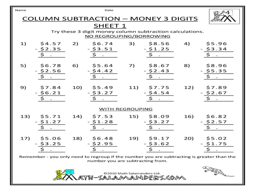 Math Worksheets Addition And Subtraction Grade 3 8