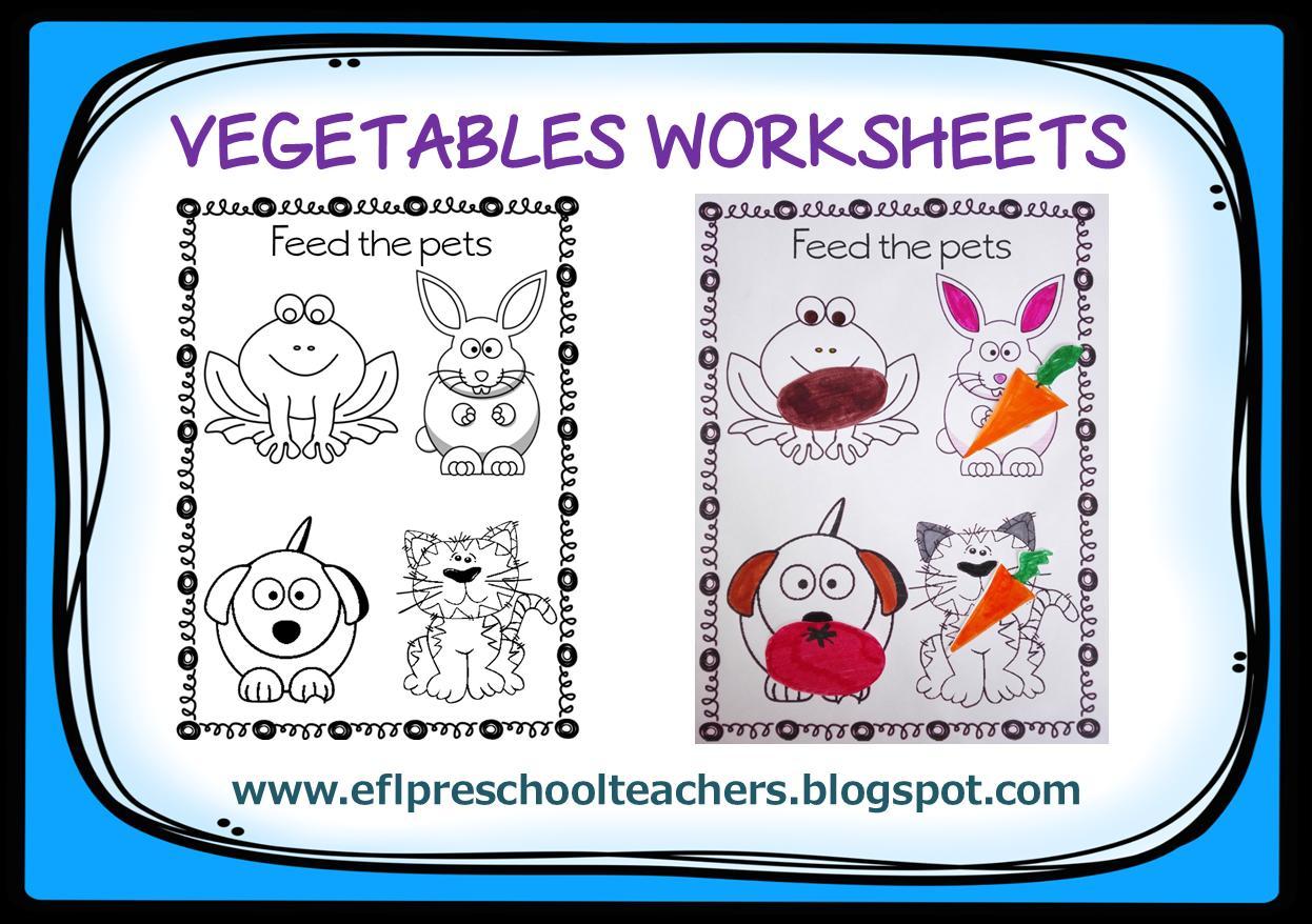 Preschool Vegetables Worksheet For Kindergarten
