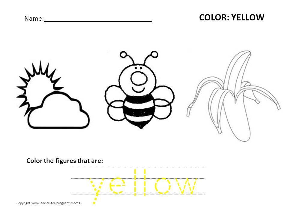 Preschool Worksheets Color Yellow 6