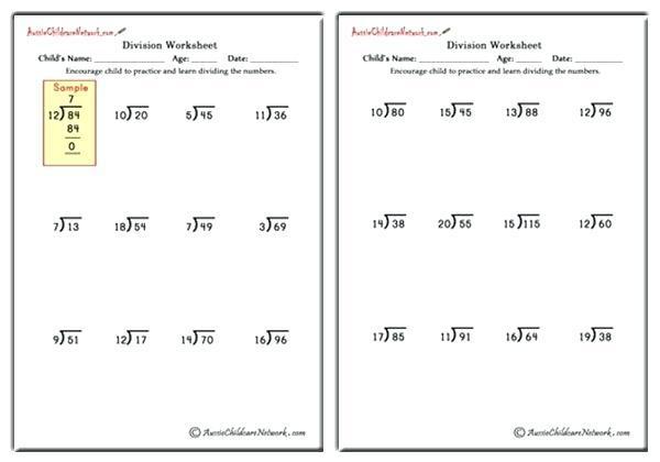 Math Worksheets Division 4th Grade 6