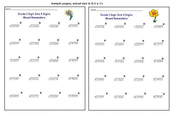 Math Worksheets Division With Remainders 15