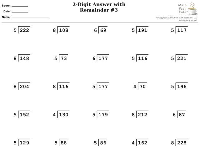Math Worksheets Division With Remainders 9