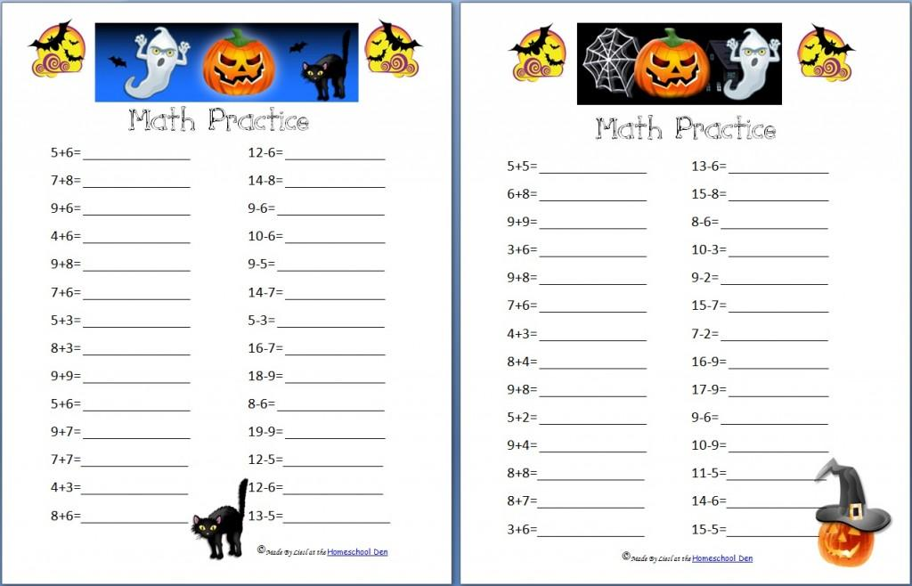 Math Worksheets Halloween Printable 1