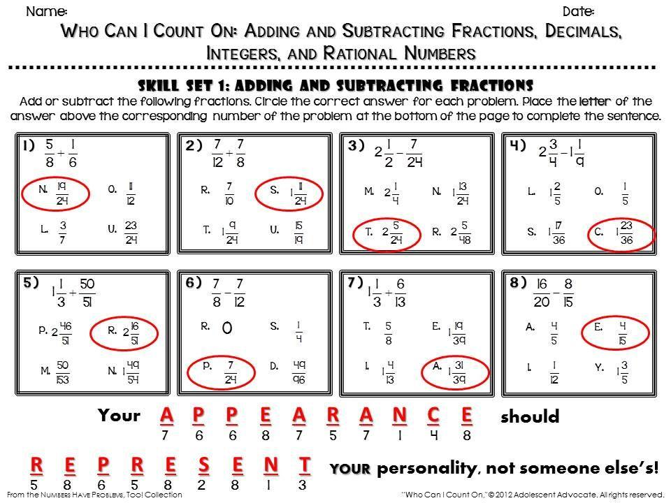Math Worksheets For Grade 7 Rational Numbers