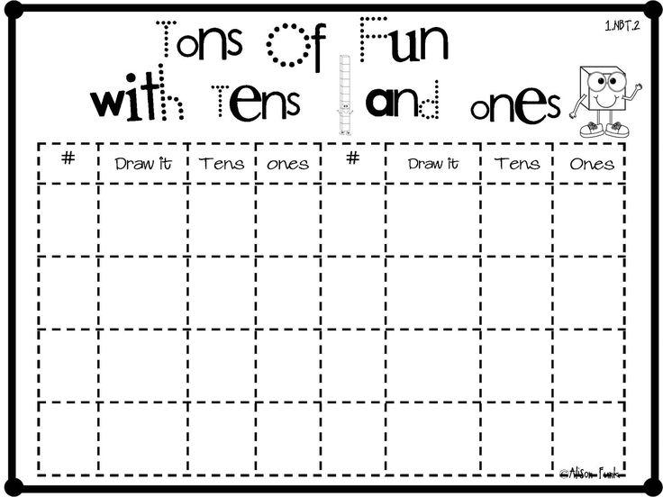 Math Worksheets Grouping Tens And Ones