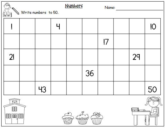Math Worksheets Numbers 1-50 2