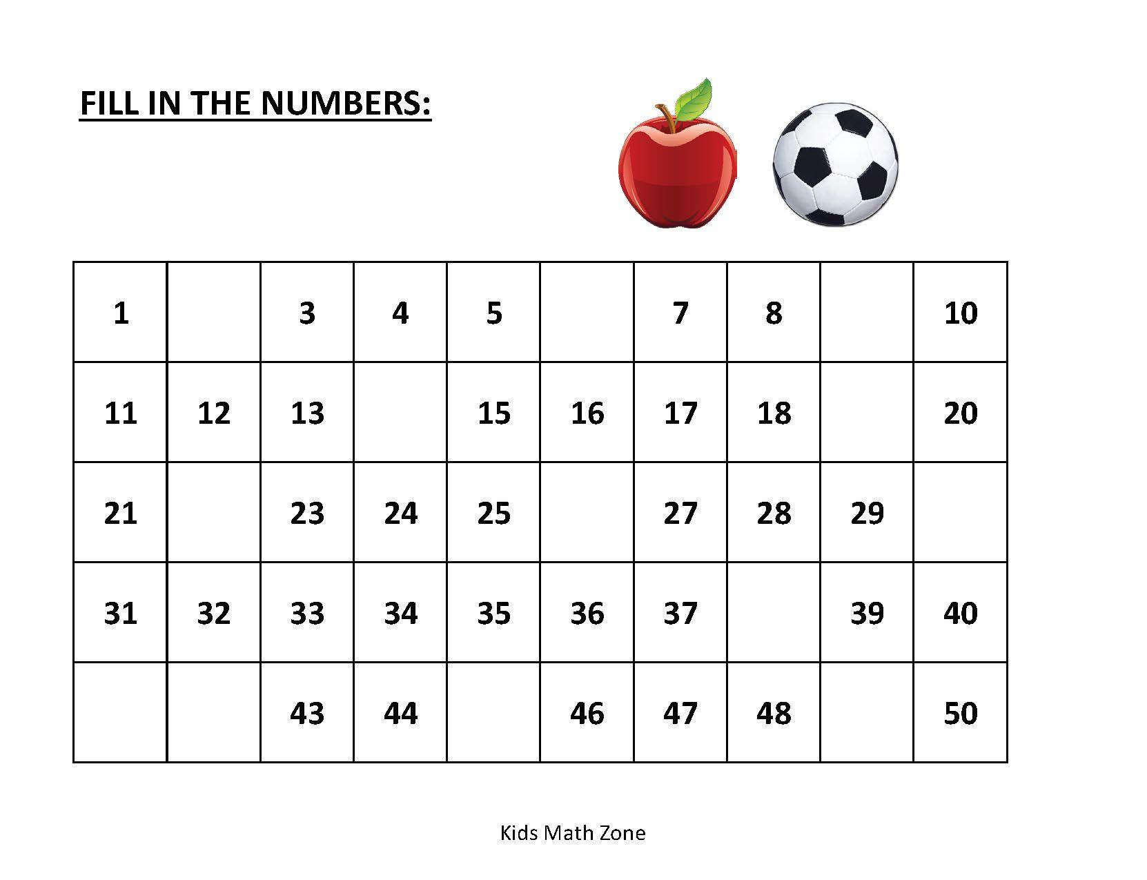 Math Worksheets On Missing Numbers 1-20